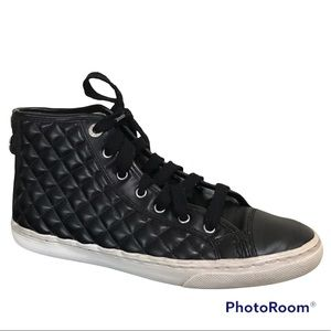 Geox Respira Black Quilted Leather High Top Sneakers